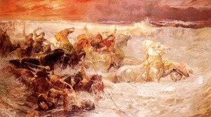 Frederick Arthur Bridgman - Pharaoh's Army Engulfed By The Red Sea