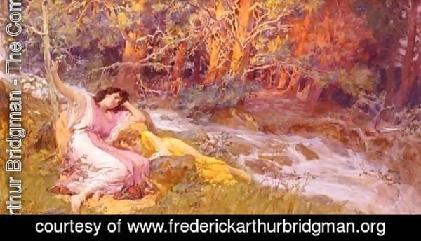 Frederick Arthur Bridgman - Reclining By A Stream