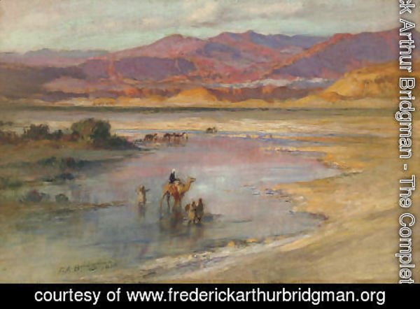 Frederick Arthur Bridgman - Crossing an Oasis, with the Atlas Mountains in the Distance, Morocco