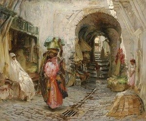 Frederick Arthur Bridgman - Going to the Bath on rue du Sphinx, Algiers