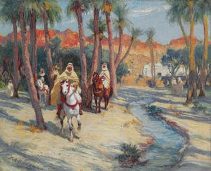 Frederick Arthur Bridgman - Riding through an Oasis
