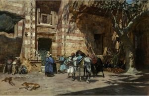 Frederick Arthur Bridgman - Halt At Tangiers