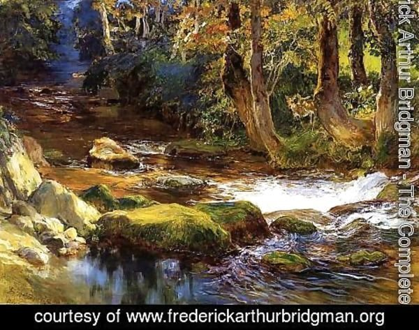 Frederick Arthur Bridgman - River Landscape With Deer